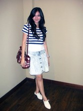 Lady lisa A - Cotton On Body Navy Stripes T Shirt, Burberry Nova Heart, Cotton On Jeans Skirt, Toywatch Watch, Singapore Cream Shoes - Stripes