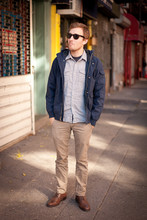 Stay Classic - Old Navy Military Jacket, American Eagle Western Shirt, Levi's® Khakis, Topman Boots - East Ninth
