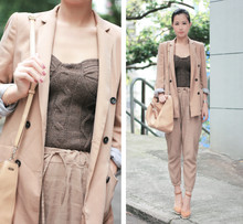 Mayo Wo - Zara Camel Blazer, Pull & Bear Knit Bustier, Chloé Suede Wedges, Fendi Beige Bag - Camel from head to toe (no camel toe :P)