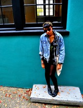 Soraya S. - H&M Round Sunnies, Bargain Thrift Denim Jacket, Target Plaid Shirt, Thrifted Bag, Dolce Vita Black Boots - Where The Sidewalk Ends