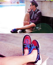 Dennis Robles - Sebago Limited Edition Tri Colored Boat Shoes, Topman Red Shorts, Disneyland Black Jacket, Topman Sailor Cap - Look # 306