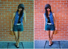 Jacqueline Leonardo - Thrift Store Denim Vest, Shorts, Forever 21 Gold Chains, Urban Outfitters Knit Beanie, Forever 21 Leather Bag, Thrift Store Sunglasses - Make your move