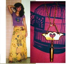 Manisha K - Acme Tattoo Bullet, A Mystery In Common Bird Print, Golden Skirt - Cage-free
