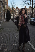 Victoria B - My Mom's Hooded Coat, Jerusalem Market Scarf, Shine Lace Up Boots - Purple fall