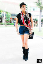 Raleene Cabrera - Topman Feather And Ivory Necklace, Zara Tribal Ish Scarf, Zara My Old Boots, Zara High Waisted Granny Shorts, Bench Basic Black Top - I miss those gusty, blustery days.