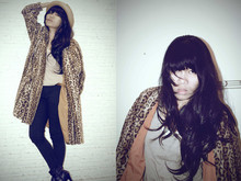 Lauretha Sudjono - Faux Fur Leopard Coat, Black Skinny Pants, Obey Straw Hat, Zara Khaki T's - Let me out of my cage!