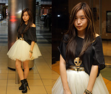 Jessica Tran - Tattoo Floaty Satin Top, Colette Sequinned Skull Necklace, Thrifted, Diy Tutu Skirt, Gift Booties - Underage