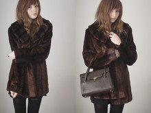 Rebekah D - River Island Coat, Charity Shop Bag - Brr!