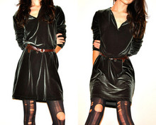 Tiffany B - Vintage Velvet Dress, Ripped Tights, Vintage Belt - Velvet