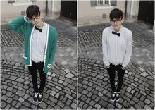 Harrison M. - Vans, My Real Glasses, Self Made Haircut, Vintage Granddad's Cardigan, H&M Bowtie, H&M Button Down, Shoelace Belt, H&M Super Slims - I Am Made Of Chalk.