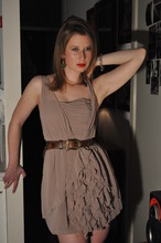 Victoria B - H&M Dress, My Mom's Belt, Smaak Owl Earrings - Left the knife on the kitchen table