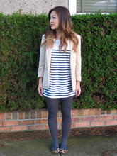 Nicole S. - H&M Blazer, Zara Striped Tunic, Joe Fresh Opaque Tights, Coach Leopard Print Flats - Happiness hit her like a bullet in the head