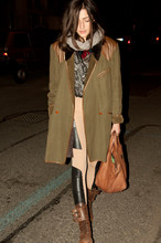 Eleonora Carisi - Guya's Leather Bag, Vintage Boots, What's Inside You Spandex Ryder, Kenzo Coat, Kling Wool Scarf - HATTORI KENZO