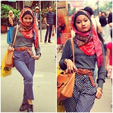 Nurul Hidayati - Nurul Hijab & Co Hot Rainbow Pashmina, Mango Grey, Polka Dot Trousers, Vincci Oxford Shoes - I love polka dots, too!
