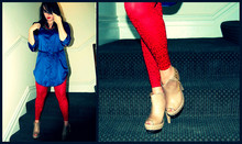 Kay K. - H&M Blouse, Kg Boots - I officially have blue&red fever :)