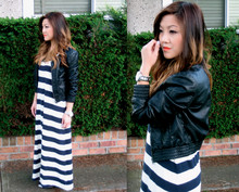 Nicole S. - Zara Faux Leather Jacket, H&M Striped Maxi Dress - If there was nowhere to land i wouldn't be scared