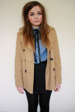 Lily Melrose - H&M Chambray Shirt, New Look Camel Peacoat, Ribbon Necktie, H&M Panelled Body Con Skirt - I am not a robot