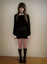Claire Mcmanus - Thrifted Peter Pan Collar, Vintage Leather Shorts - Peter Pan