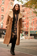 Jennine Jacob - Vintage Shearling Coat, Pinky Otto Angora Hat, Diane Von Furstenburg Jewel Print Wrap Dress, Aldo Lace Up Booties, Club Monaco Metalic Scarf - Shearling & Silk
