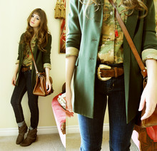 Bebe Zeva - Olive Vented Blazer, Ralph Lauren Horse And Jockey Button Down, Brighton Multicolor Gold Suede Belt, Hudson Dark Denim Jeans, Steve Madden Ankle Boots - EQUESTRIAN PEDESTRIAN
