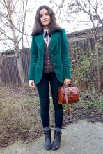 Oana S. - Black Boots, Trifted Green Velvet Blazer, Zero Trifted Striped Shirt, Brown Cardigan, Black Skinny Pants, Vintage Marc Chantal Purse, Black & Gray Ankle Socks - Last Days Of Autumn