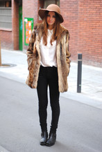 Zina CH - Vintage Fur, Friis & Company Hat, H&M Shirt, Sendra Biker Boots - Now And Then
