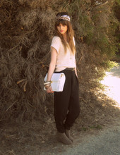 Claire Mcmanus - Sportsgirl Cropped Knit, Forever New Black Trousers, Thrifted Bag - Simple