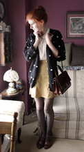 Rachael S - Thrifted A Line Skirt, Thrifted Sweater, White Blouse, Aldo Oxfords, Thrifted Satchel - My life is a perfect graveyard of buried hopes.