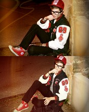 Adam Gallagher - High School Authentic Varsity Jacket, Converse Red, Check Tee - 19