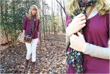 Dana B - Dooney And Bourke Vintage Purse, Free People White Jeans, The Frye Company My Favorite Boots, Floral Scarf, Delia's Shirt, Lace Shirt - Winter white