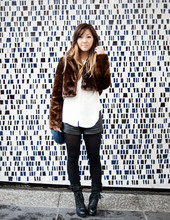 Nicole S. - H&M Cropped Faux Fur Coat, Forever 21 Faux High Waisted Leather Shorts - Downtown girl