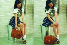 Lee Ming - Old Skool Graphic Tee, Bkk Belt, Bkk Polka Dot Skirt, Bkk Messenger Bag, Bkk Leather Clog - Fragile hope