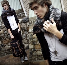 "Adam Gallagher - Cousin Made It! Hand ""Megan"" Scarf, H&M Camera Ring/ Braid Ring, Forever 21 Leaf Necklace, Urban Outfitters Military Inspired Backpack - Mad World"