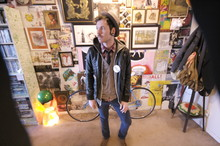 Justin Wayne Butts - Black Apple Faux Leather Jacket., Levi's® Corduroy Blue, Bdg Cardigan - Homelight.