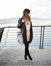 Nicole S. - H&M Leather Jacket, Club Monaco Sophie Blouse, Wilfred Cardigan, Club Monaco Jacqueline Winter Shorts, Coach Kristin Leather Hobo - The night can freeze before you set it on fire