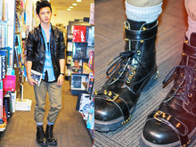 David Guison - Forever 21 Leather Jacket, Topman Denim Polo, Walker Tank Top, Forever 21 Pants, Andre Chang X F&H Combat Boots - Day at the Bookshop