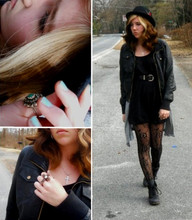 Gwendolyn R. Chandler - Nine West Vintage Combat Boots, Urban Outfitters Double Finger Cross Ring, Forever 21 Leather Jacket, Forever 21 Black Slouchy Dress W/ Pockets, Urban Outfitters Light Blue/Green Retro Nailpolish, Urban Outfitters Bowler Hat W/ Feathers - Without Wisdom.