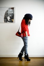 Geraldine Grisey - Pendelton Bag, Coach Platform Shearling Booties, Levi's® Skinny Boyfriend - Red is the new black