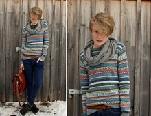 Simon Schmidt - H&M Lovely Knit Jumper, From Greece Vintage Bag, Zara Grey Round Scarf, H&M Skinny Dark Blue Jeans -  I wish I could travel overground