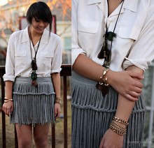 Diya L - Thrifted Button Down Blouse, Asos Fringed Skirt, Forever 21 Feather Necklaces - Simple