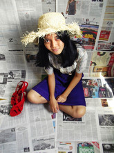 Lutfi Salvatore - Straw Hat, Triset Purple Dress, Red Wedges - Need to go to beach