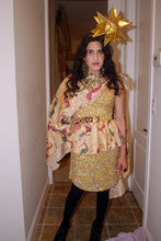 Eli Alcaraz - Star Headpiece Made By Me, Angel Print Cape Made By Me, Scala Dress, Angel Print Skirt Made By Me., Sam Edelman Boots, Vintage Earings - The Golden Year