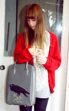 Eve Young - Op Shop Red Fluffy Cardie, Op Shop / My Paint Box Hand Painted Bag - Crow bag