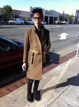Chi Kotur - Zara Patent Leather Hi Tops, H&M Skinny Pants With Leather Details, H&M Military Trench Coat, H&M Camel Belt, Urban Outfitters Perfecto Jacket (Inside), H&M Glasses - 012031010