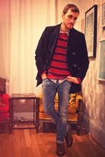Stay Classic - Banana Republic Pea Coat, H&M Striped Sweater, American Eagle Vintage Button Up, H&M Jeans, Topman Boots - Scotch and Soda