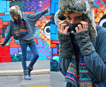 Gianni Sarracino - American Apparel Appareal Bat Longsleeves, H&M Gloves, H&M Faux Fur Hat, Ugg Grey Boots, H&M Multicolor Scarf - Life in Technicolor