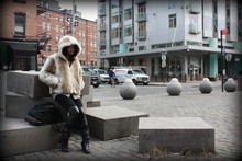 Bell Tessalee - Thrifted Faux Fur Coat, Vera Wang Riding Pants, Urbanoufitters Backpack, Kensie Boots - On the streets....