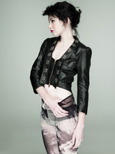 Robyn Chalmers - Delano Design Boutique Studded Leather Jacket, Norwegian Wood Printed Sheer Leggings - Rolling Stone