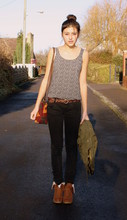 Megan S - H&M Daisy Print Top, Urban Outfitters Bag, River Island Boots, Gap Coat, Zara Jeans, Accessorize Belt - First sun, sign of spring?
