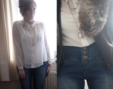 S L - New Look Off White Sheer Shirt, New Look Blue High Waited Jeans, Topshop Faux Fur Stole, Topshop Pu Biker Jacket, Topman Fan Necklace, Cameo The Label Necklace - Denim + fur